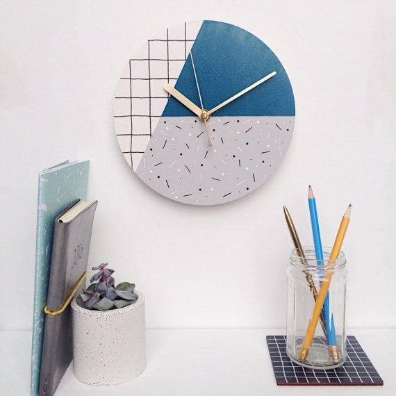 Unique Wall Clock Oversized Clock Modern Clock Blue