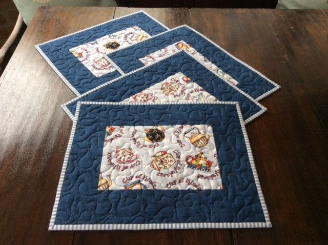 Four Handmade Blue Quilted Patchwork Placemats, Home Decor, Teapot, 4 Place Mats by PetrinaRigbyQuilting on Etsy