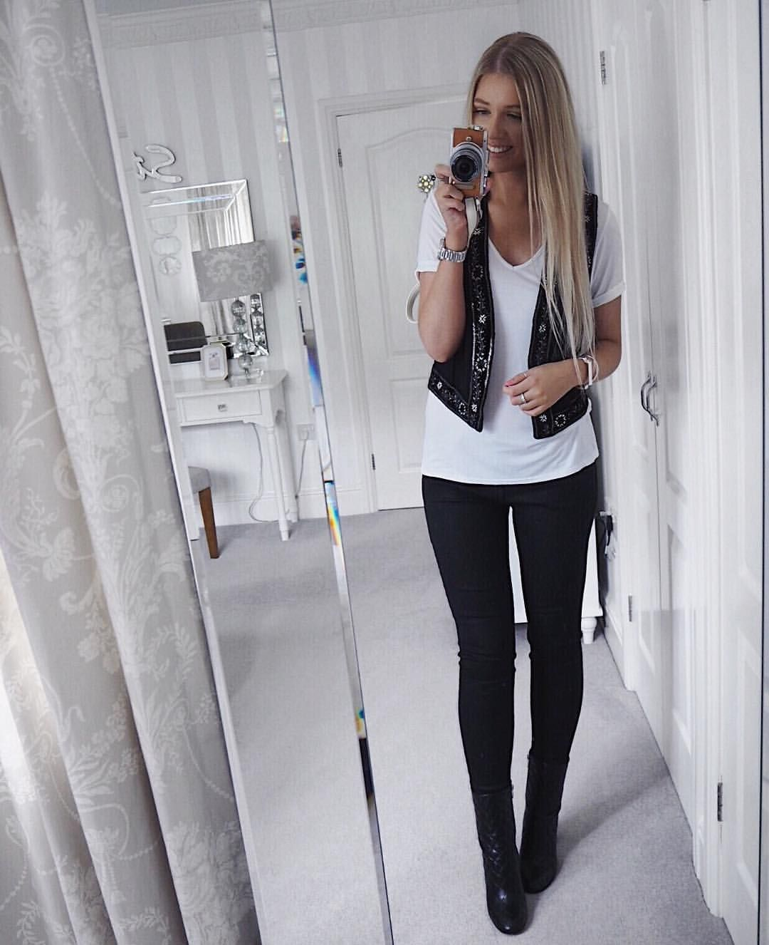 10f38f585 Instagram @emilyjanehardy The Kooples waistcoat, white tshirt, Black Jeans,  women's fashion