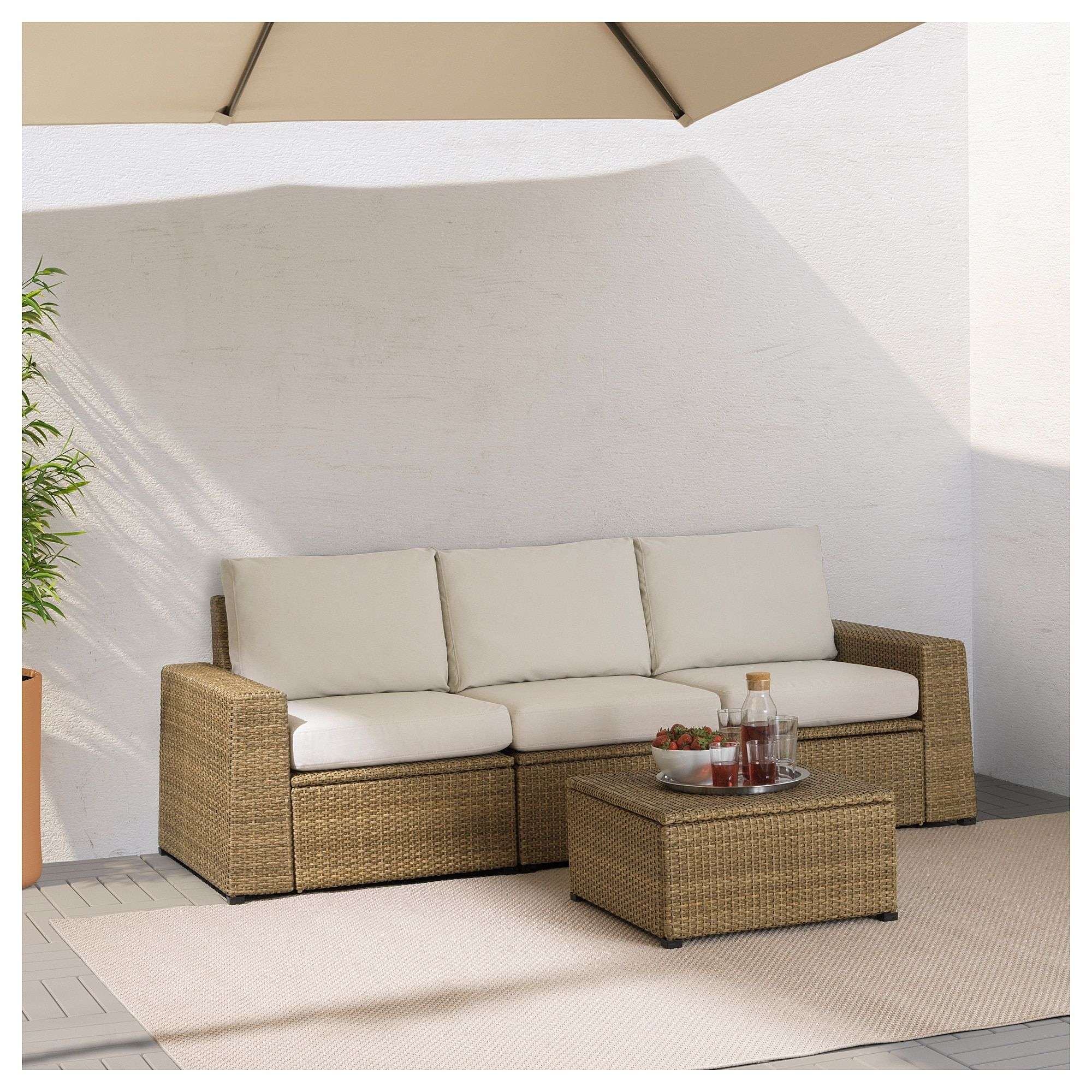 Ikea sollerön sofa outdoor brown frösön duvholmen beige