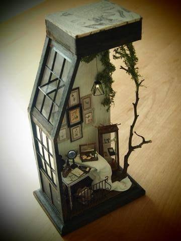 Miniature loft roombox. Love the tree growing right through it! #miniaturerooms