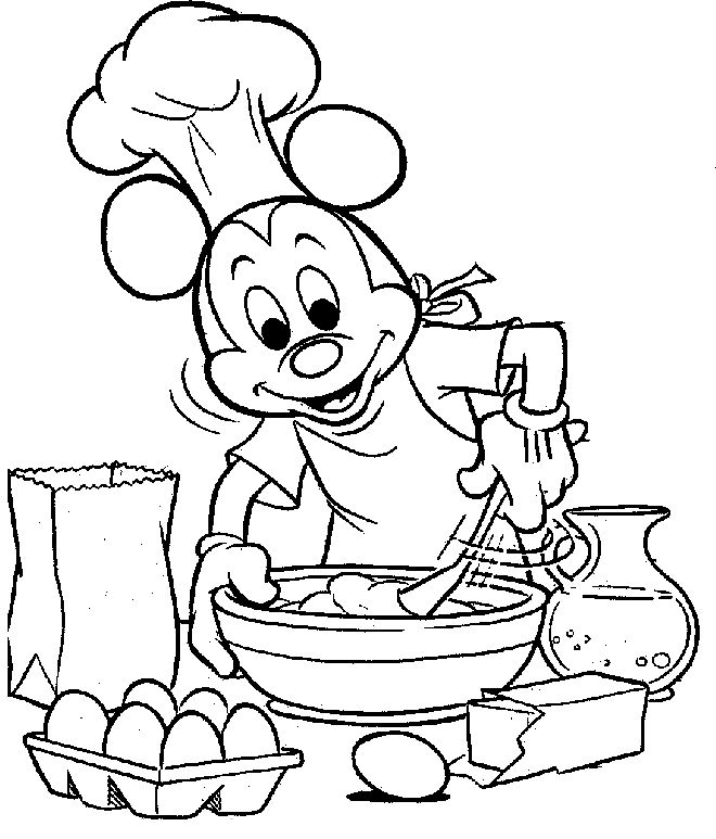 Mickey Mouse Was Cooking Coloring Pages | Coloring Pages | Pinterest
