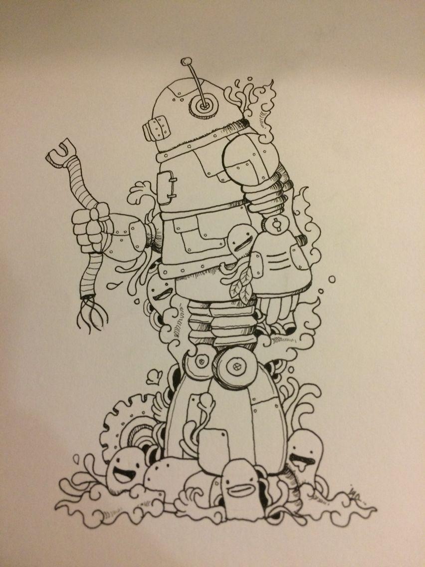 inktober doodle art robot
