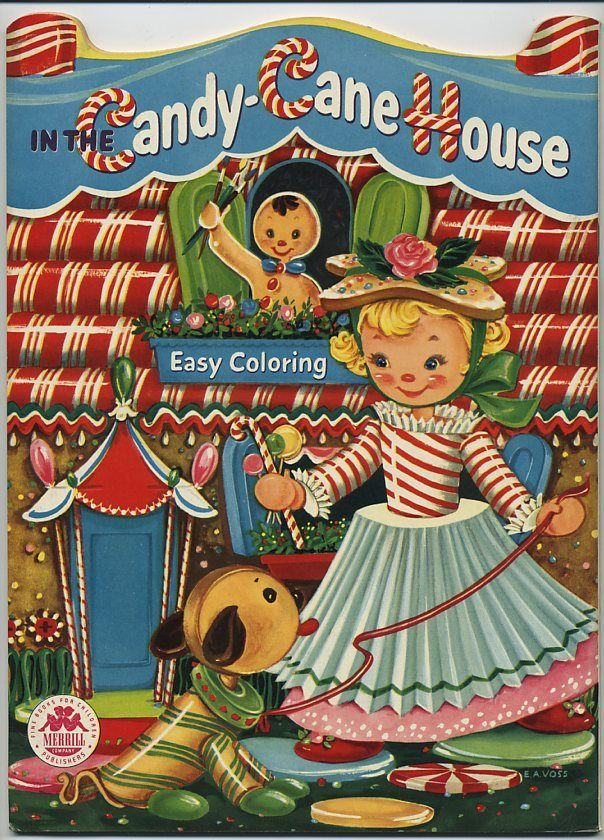 1955 Unused Candy Cane House Coloring BookMerrill