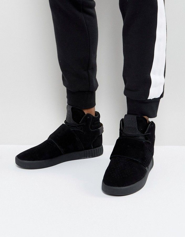 8273f798088385 adidas Tubular Invader Strap Sneakers In Black BY3632