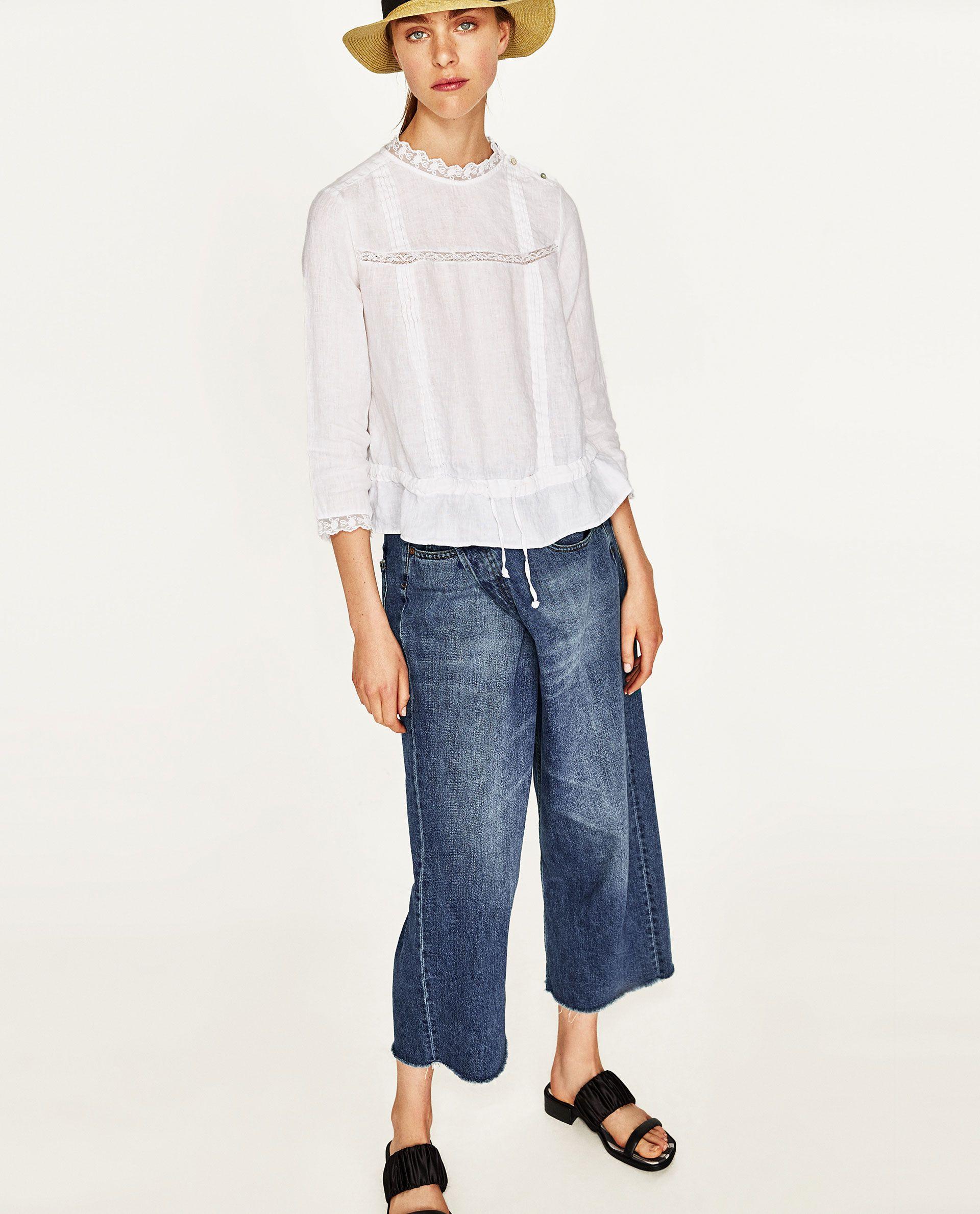 8e5502dea4e7 ZARA COLOR: Blanco 2332/270 Blusa en lino con cuello redondo subido ...