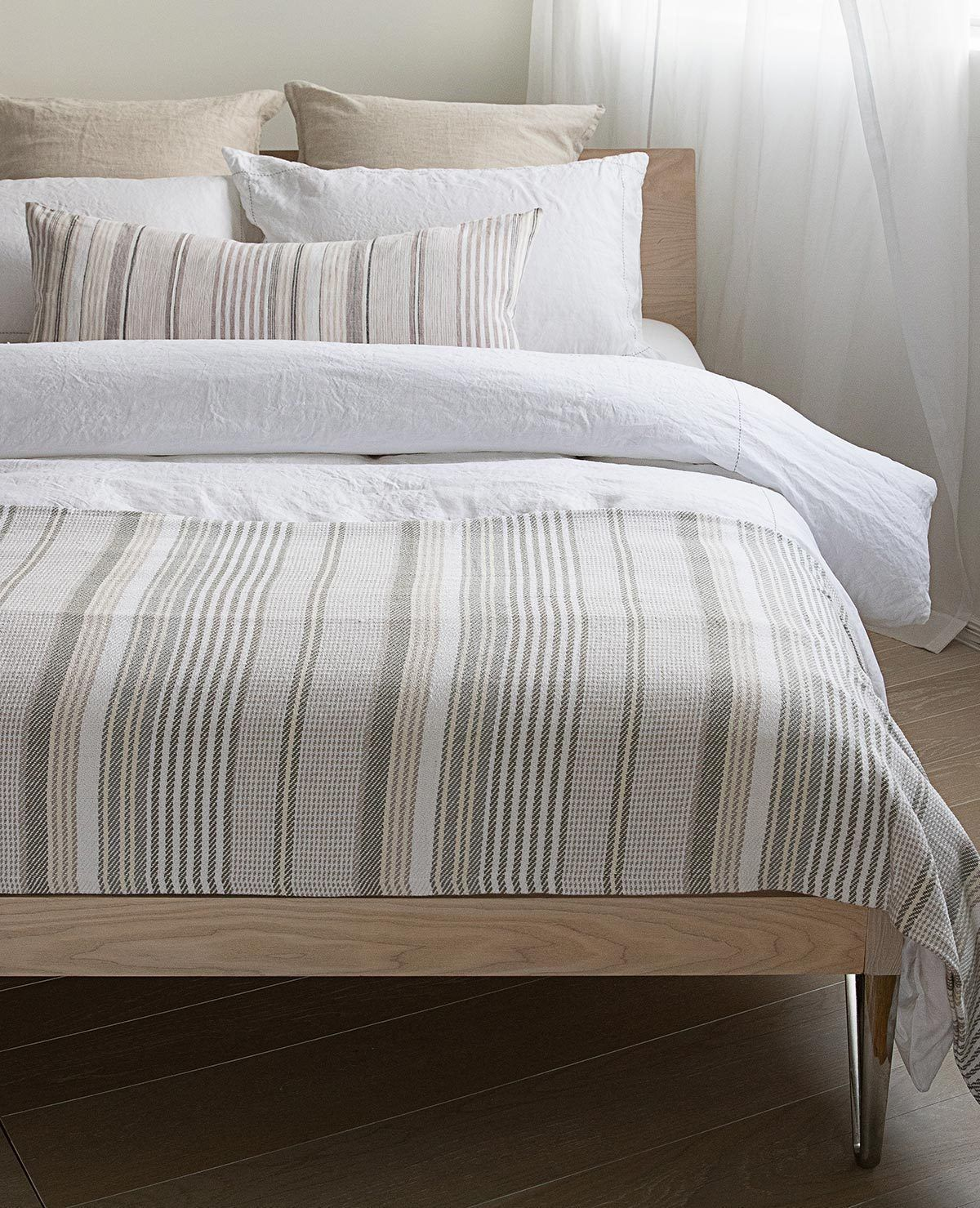 Gradation Coverlet Grey Taupe Stripe White Linen Bedding Bed Linens Luxury Contemporary Bed Linen