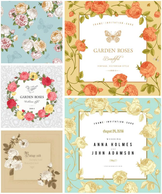Collection of 5 vector templates of floral frames decorated with 3 sets with 21 vector floral decorative vintage or modern frames with different embellishment lace borders tracery abstract flowers nice vintage stopboris Image collections