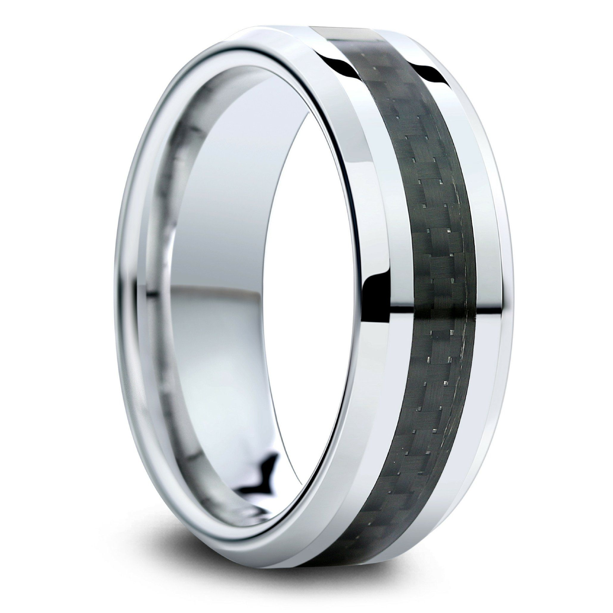 Mens Tungsten Wedding Band With Black Carbon Fiber Inlay Mens Wedding Bands Tungsten Mens Wedding Rings Tungsten Mens Carbon Fiber Ring