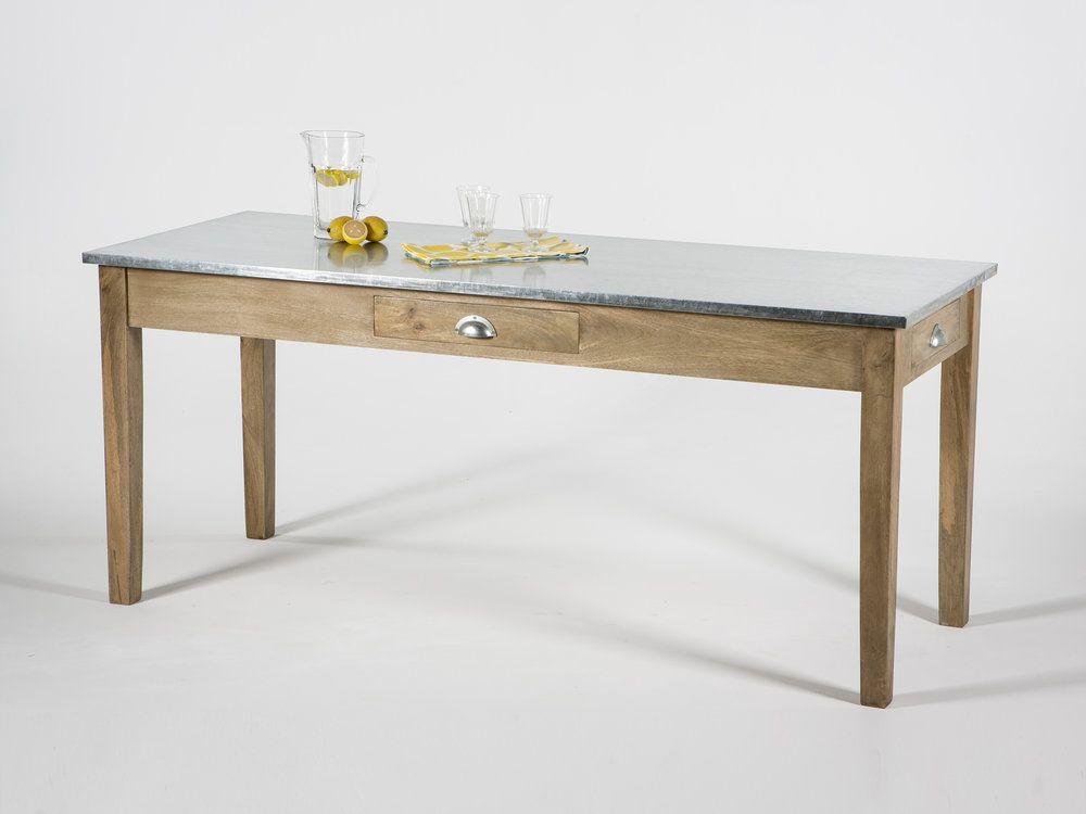 Table A Manger Rectangulaire En Bois Plateau Zinc Avec Tiroirs Hanko Table A Manger En Bois Table A Manger Rectangulaire Table A Manger