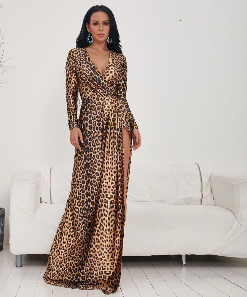 Wattle deep v long sleeve leopard print maxi dress check it out