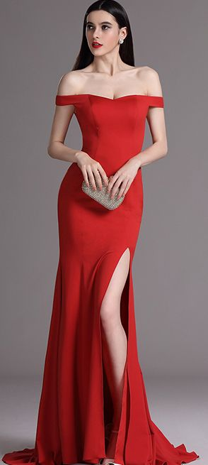 eDressit Red Off Shoulder High Slit Formal Evening Dress