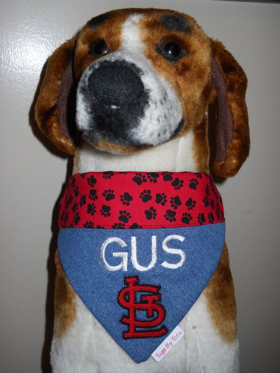 Personalized Dog Bandana With St Louis Logo Embroidery Is Done On