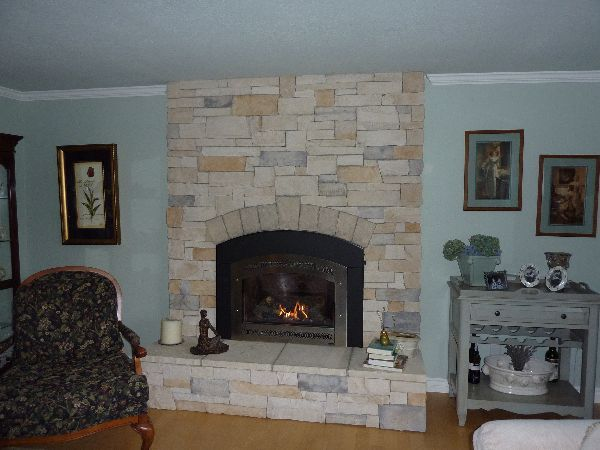 Cultured Stone Fireplace Remodel