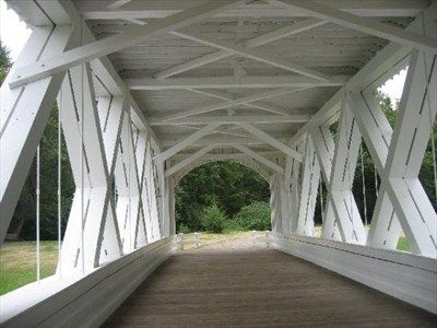 Inside view of Stayton covered bridge