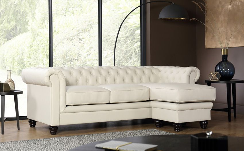 Hampton Ivory Leather L Shape Chesterfield Corner Sofa Leather