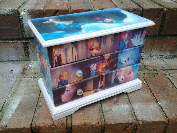 Decoupage custom Jewelry Box inspired by Disney by gourdartbyser