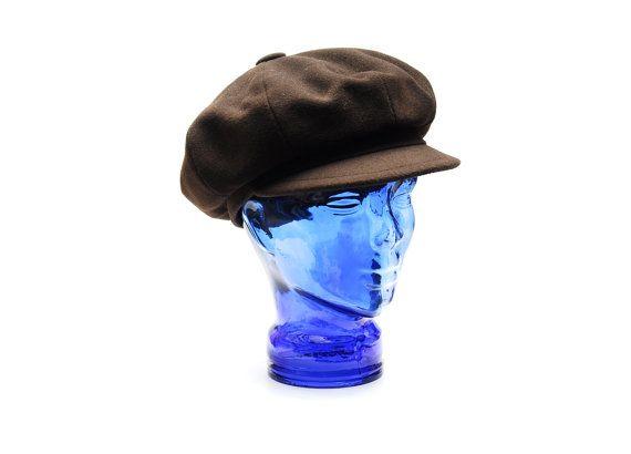 Vintage wool newsboy flat cap hat, chocolate brown messenger beret, Nagy Hüte Balke hats Vienna, 1980s made in Austria by Aerosvar