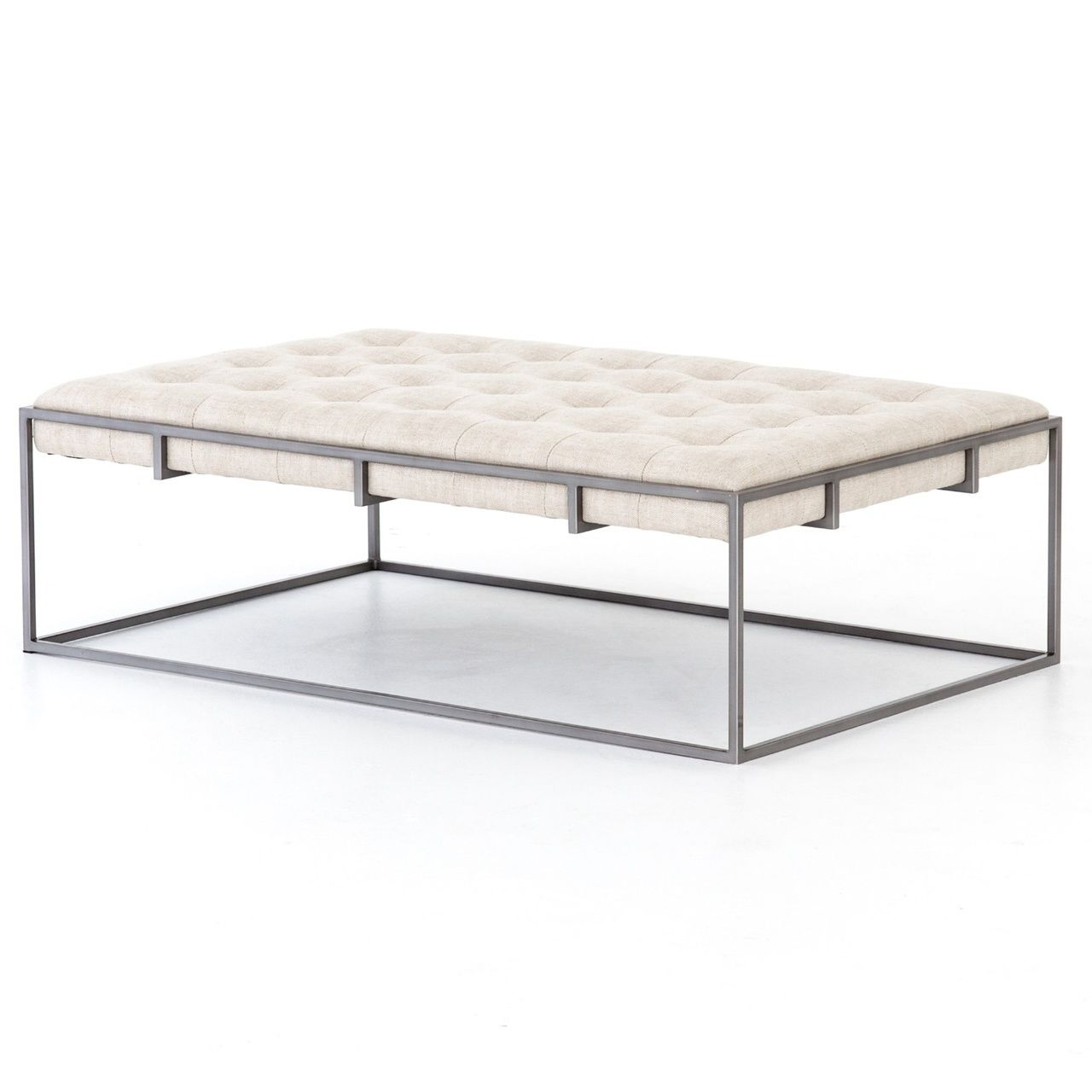 """Oxford Tufted Belgium Linen Ottoman Coffee Table 50"""" In"""
