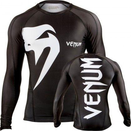 Venum Giant Long Sleeve Mens Rash Guard Black  630aef5510ab9