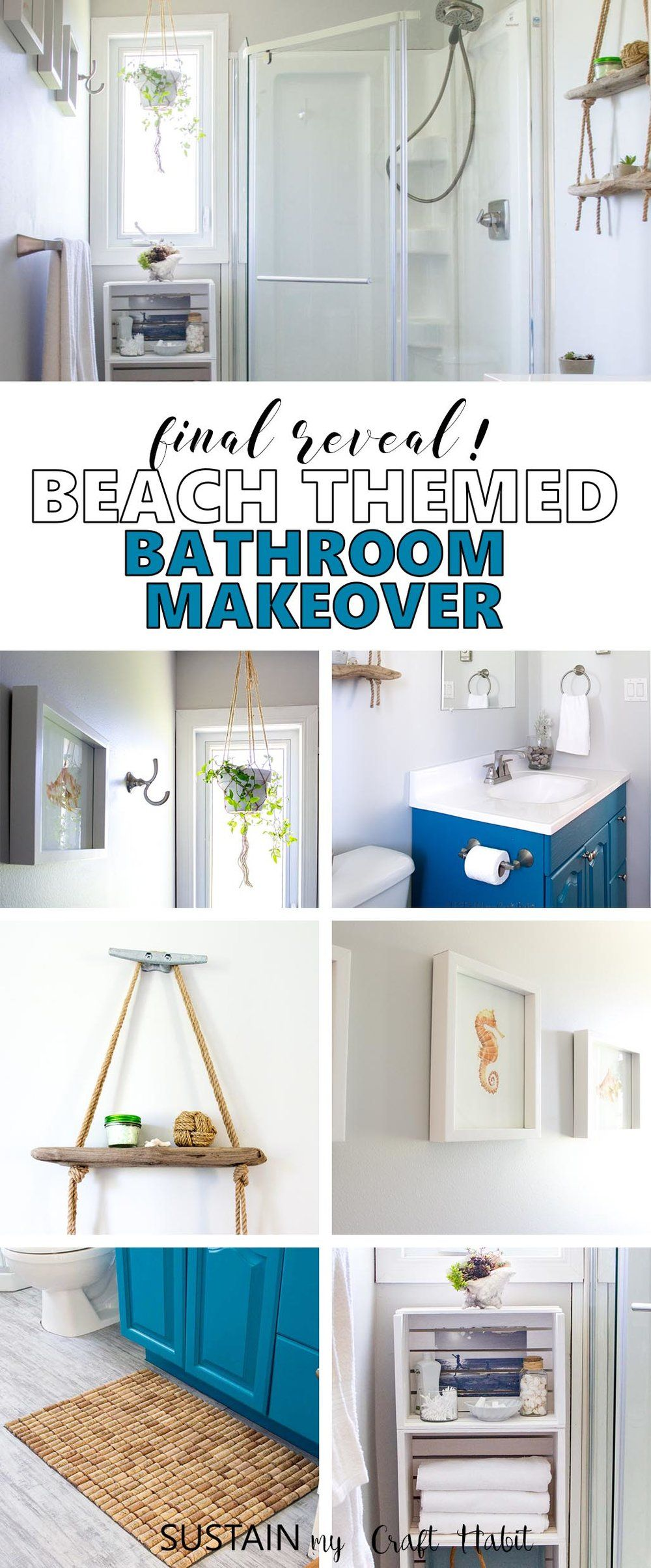 Beach Themed Bathroom Final Reveal | Beach themed bathrooms, Coastal ...