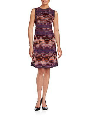 M Missoni Wave Patterned A-Line Dress - Watermelon - Size