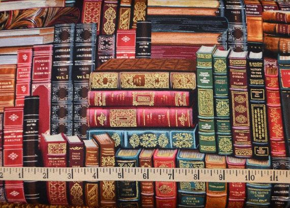 Cotton Fabric Fat Quarter quilting Timeless Treasure desk with books metallic