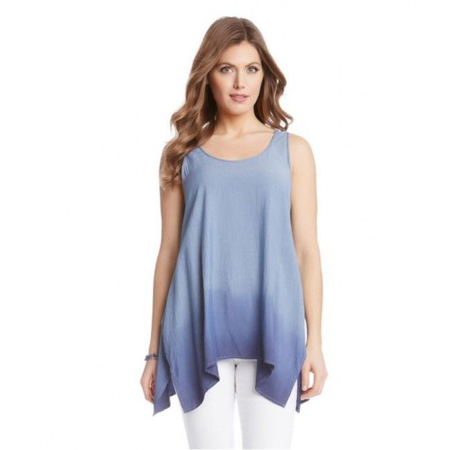 Karen Kane - Dip-Dye Handkerchief Tank is a great addition to your suitcase #TravelClothing #WorldTraveler