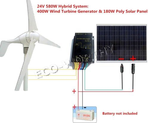 500w 750w Hybrid System Kit 400w Wind Turbine Generator Solar Panel Home Rv Wind Turbine Generator Solar Panels Solar