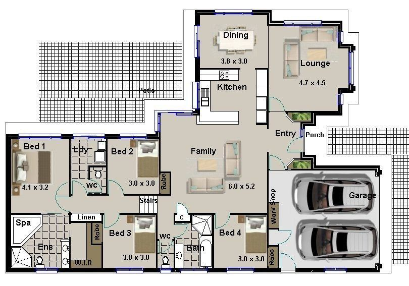 Small 4 Bedroom House Plans Simple House Plan With 4 Bedrooms 4 Four Bedroom House Plans Single Storey House Plans Building Plans House