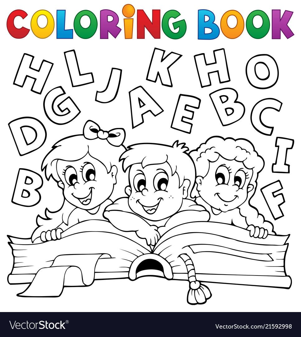 Coloring Book Kids Theme 5 Vector Image On Vectorstock Coloring Books Kids Coloring Books Coloring Book Download