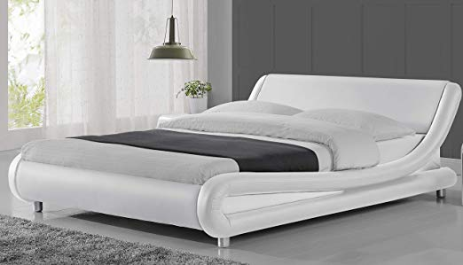 Amazon Com Urest Queen Size Bed Frame Faux Leather Modern