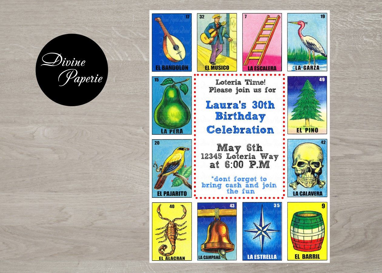 Loteria Invitation Divinepaperie Invitations Digital