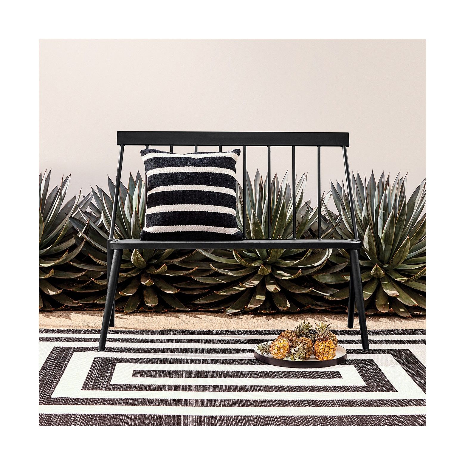 Surprising Windsor Metal Stack Patio Loveseat Bench Black Project 62 Bralicious Painted Fabric Chair Ideas Braliciousco