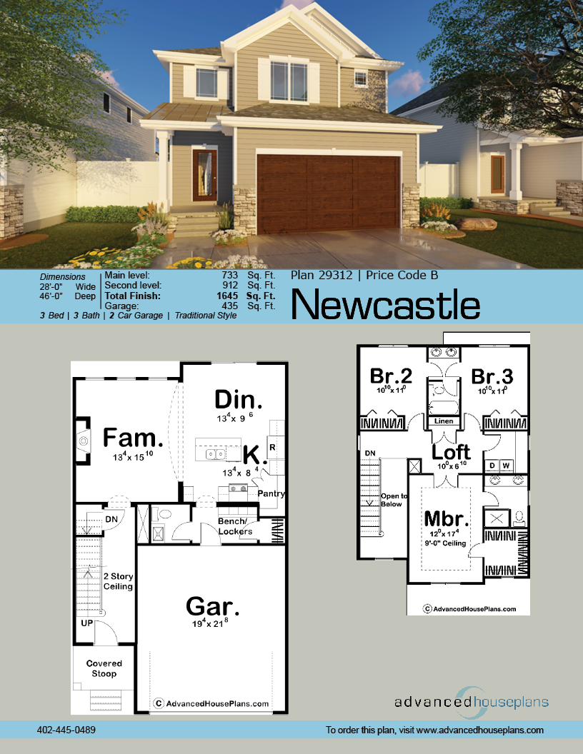 2 Story Traditional House Plan Newcastle Town House Plans Narrow House Plans House Blueprints