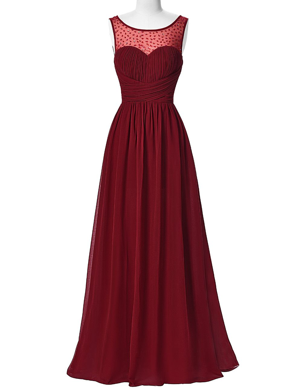 Long burgundy evening dress chiffon prom dressesreal picture prom