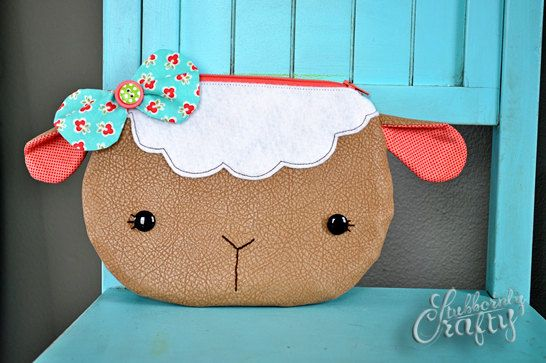 Little Lamb Zippy Critter PDF Pattern, Sewing Pattern, PDF Sewing Patterns, Handmade Sewn Gift Idea, Instant Download, Sheep Zipper Pouch