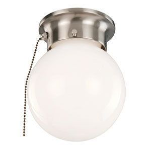 For The Design House 519272 Satin Nickel Single Light Wide Flush Mount Globe Ceiling Fixture With Pull Chain And Save