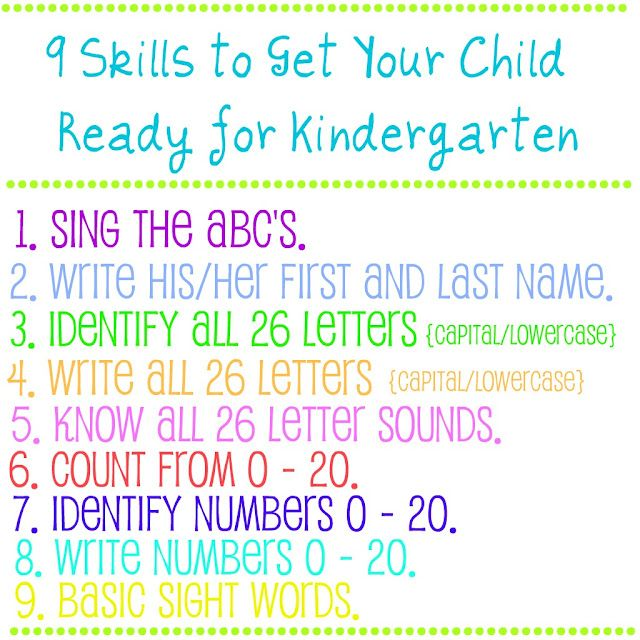 9 skills to get kiddos ready for Kinder