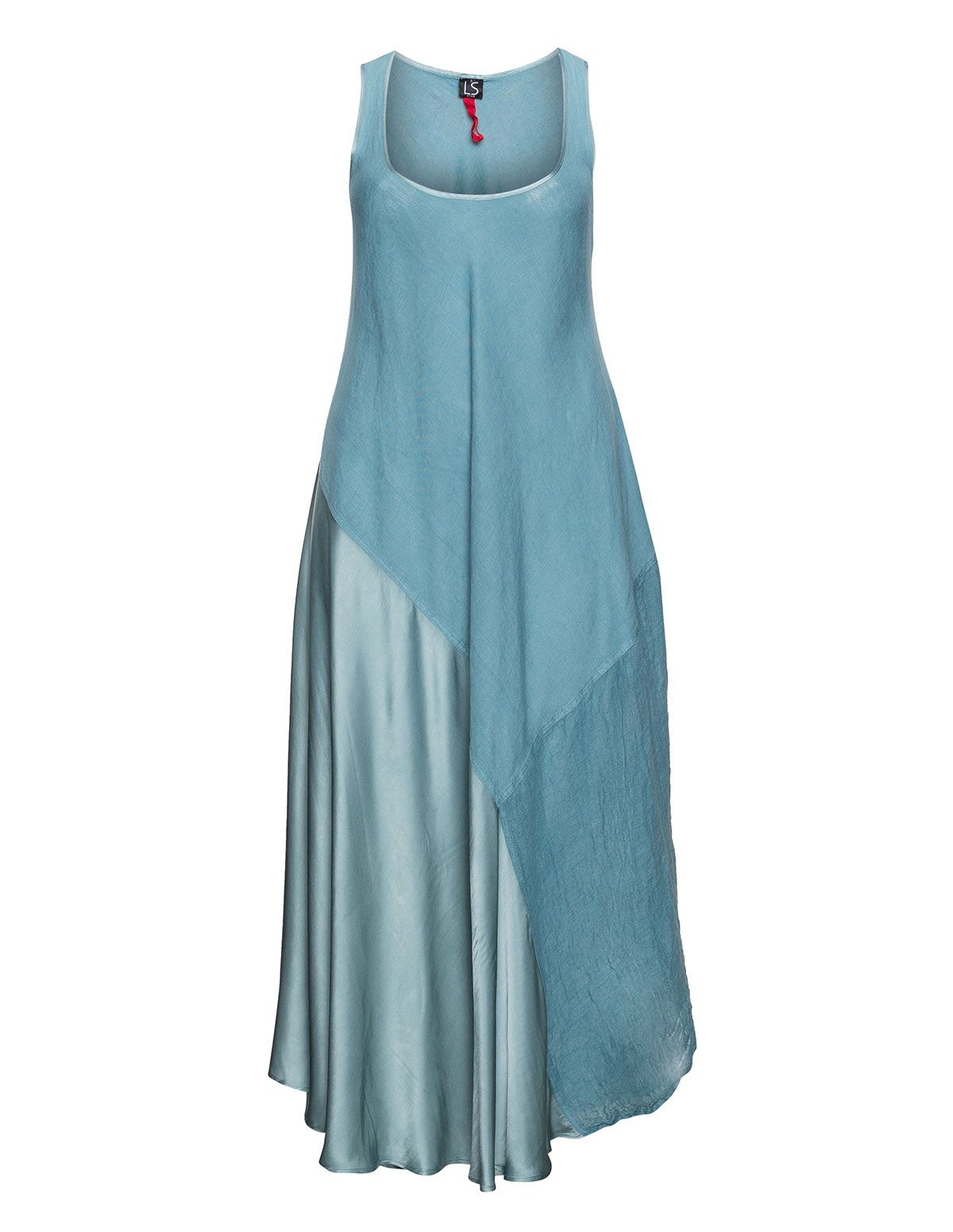 12a06ecb9241a1 La Stampa Satin linen maxi dress in Turquoise