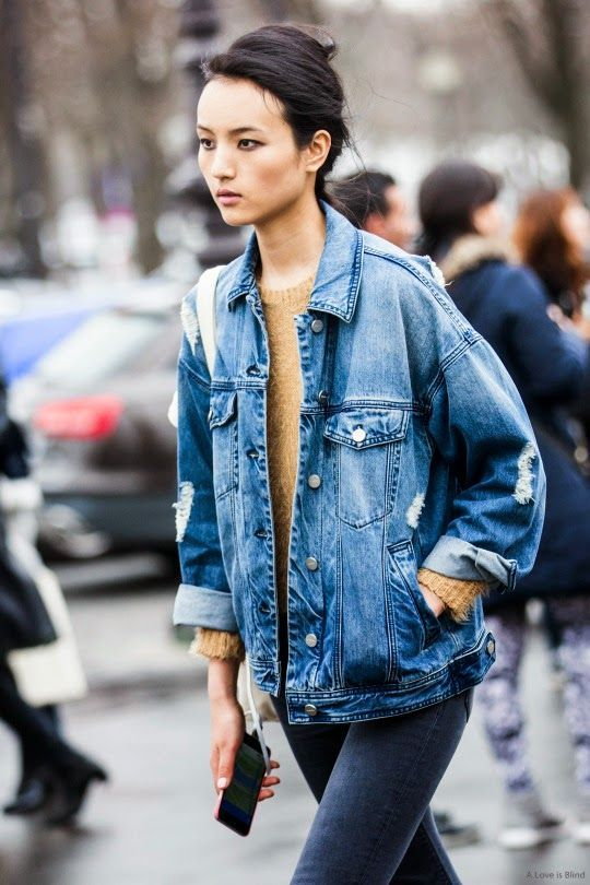 b2b0ed3eea  roressclothes closet ideas  women fashion outfit  clothing style apparel  Ripped Denim Jacket and Sweater