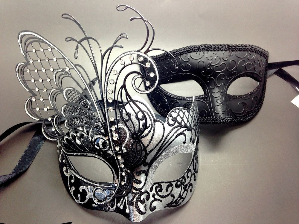 e2c6a7db35c0 Couple Black&Silver Metal Butterfly and Glitter Venetian Masquerade Party  Mask