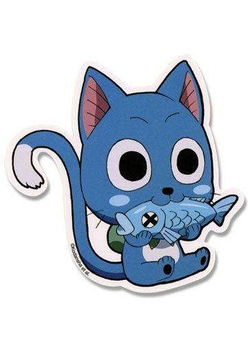 Happy Eating Fish Fairy Tail Sticker Fairy Tail Happy Fairy