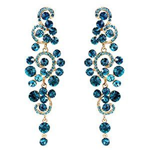 Amazon.com: JoinMe Women's Bohemian Wedding Bridal Crystal Floral Chandelier Hollow Out Dangle Earrings Blue: Jewelry