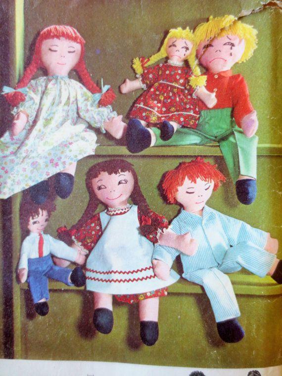 Vintage Simplicity 5714 Sewing Pattern, Ragdoll Pattern, Rag Doll ...