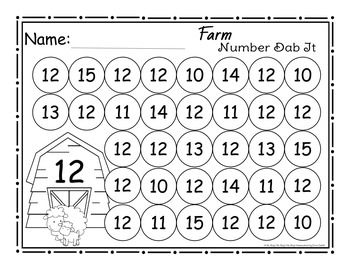 Farm Number (0-25) Dab It Worksheets | Worksheets, Farms and Numbers
