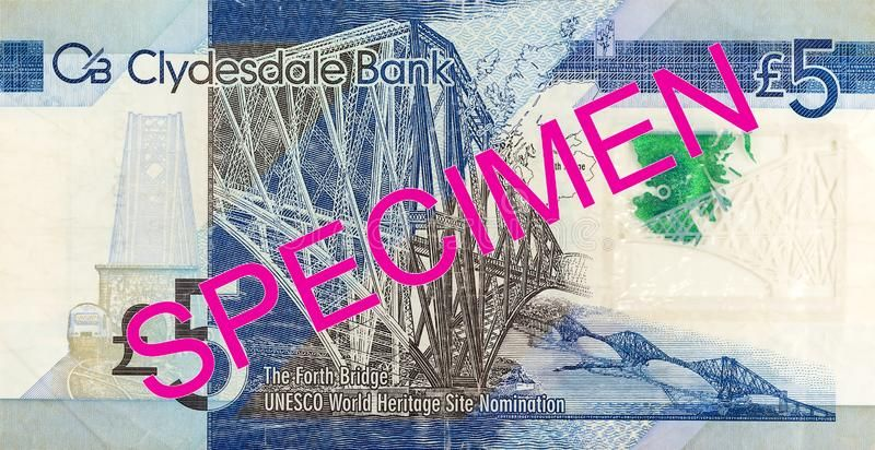 5 Pounds Sterling Note Issued By Clydesdale Bank Plc Specimen