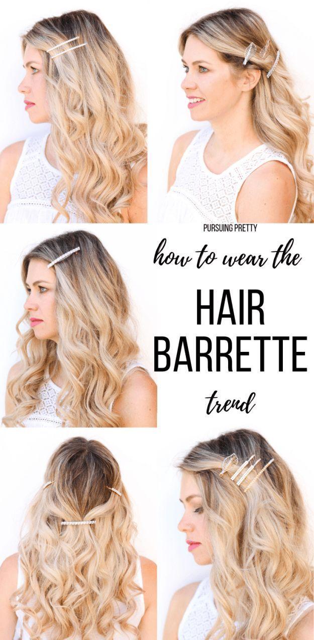 How To Wear The Hair Barrette Trend Pursuing Pretty Headband Hairstyles Pretty Hairstyles Clip Hairstyles