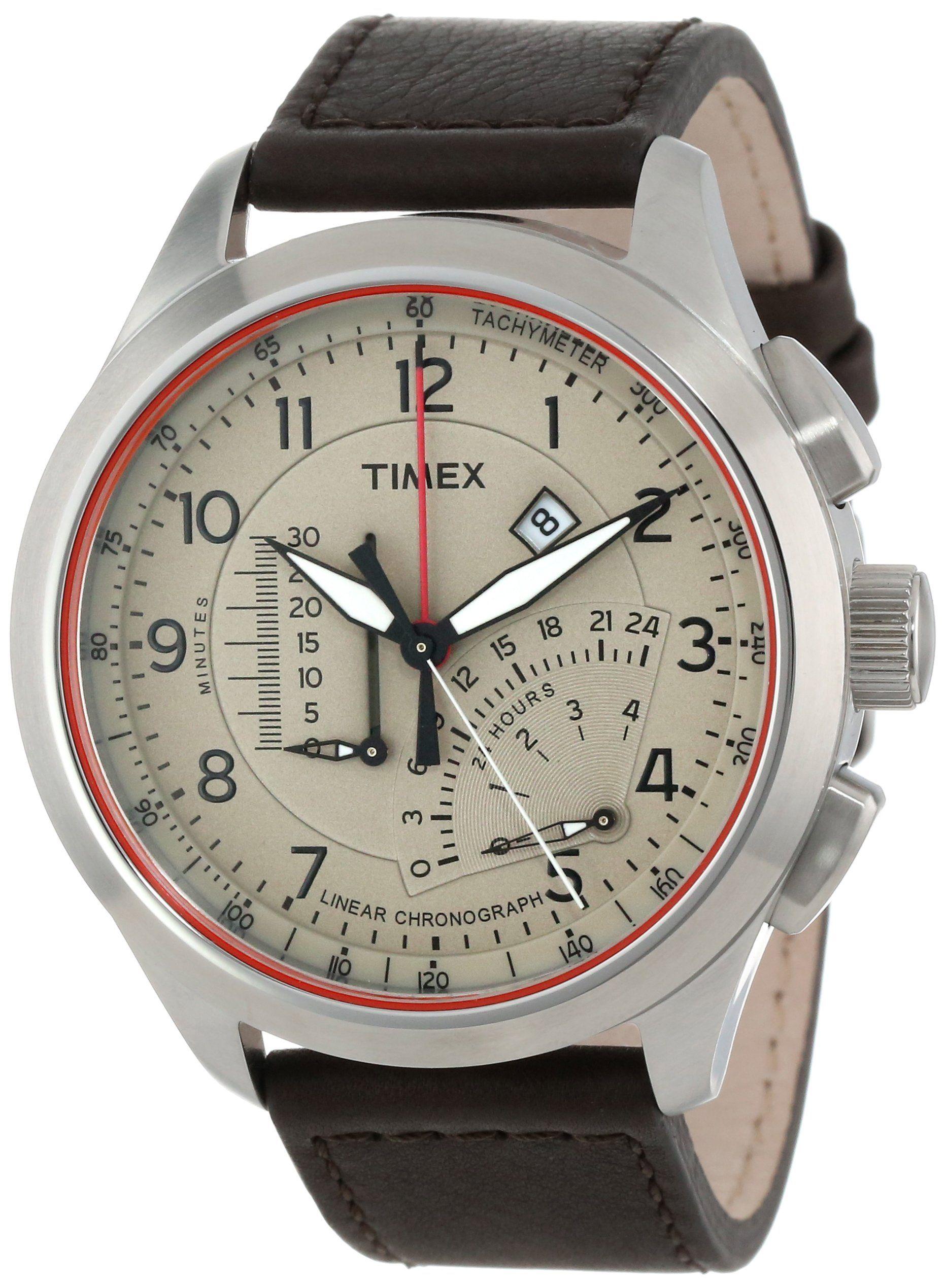 Timex Men s T2P275DH Intelligent Quartz Adventure Series Linear Indicator  Chronograph Brown Leather Strap Watch b9c4e63d73
