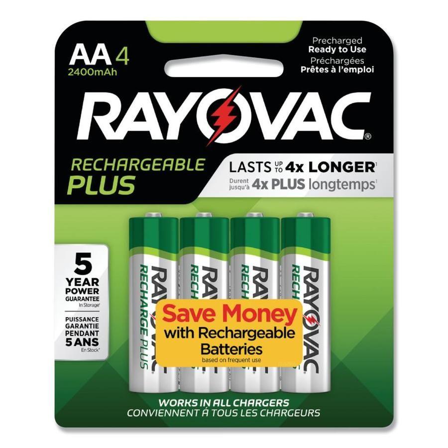 Rayovac Recharge Plus Rechargeable Nickel Metal Hydride Nimh Aa Batteries 4 Pack Lowes Com Nimh Battery Rechargeable Batteries Nimh